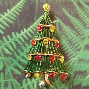 Vintage Hedy Christmas Tree brooch pin holiday
